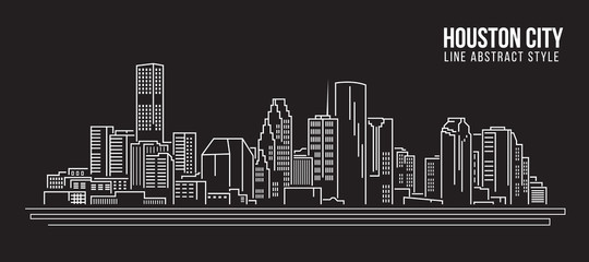 Cityscape Building Line art Vector Illustration design - Houston city