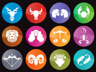 Horoscope in circle icon sign vector set design