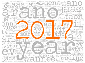 Word cloud 2017. The word Year is in many different languages. Typewriter font with orange highlighted year number and light background.