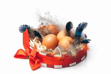 Eggs in decorative round box
