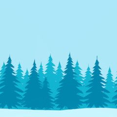 Christmas Holiday Background, Winter Forest with Fir Trees on Blue, Low Poly. Vector