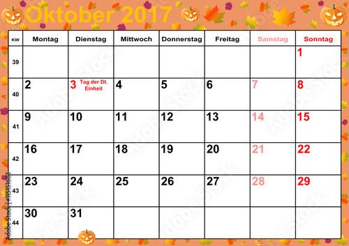 kalender 2017 monat oktober mit feiertagen f r deutschland auf buntem hintergrund mit. Black Bedroom Furniture Sets. Home Design Ideas