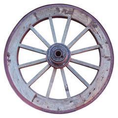 roue de charrette sur fond blanc