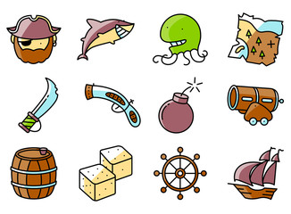 Vector thin and simple pirate and criminal  icons set