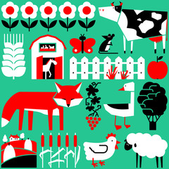 Vector set with farm objects and animals