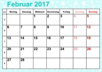 Kalender 2017 Monat Februar