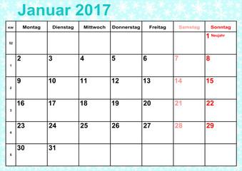 Kalender 2017 Monat Januar mit Feiertagen für Deutschland auf eisblauem Hintergrund mit Schneeflocken
