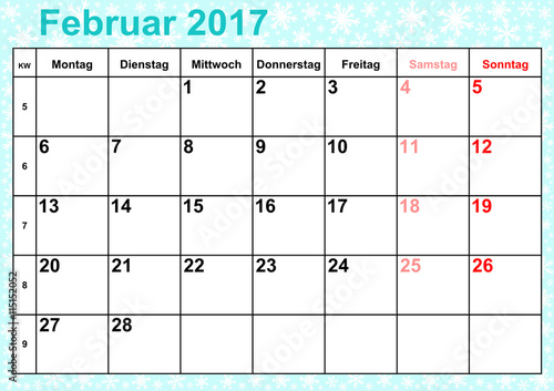 kalender 2017 monat februar mit feiertagen f r. Black Bedroom Furniture Sets. Home Design Ideas