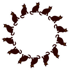 Round frame with black cat silhouette. Custom design element for greeting cards, invitations, prints. Vector clip art.