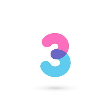 Number 3 logo icon design template elements