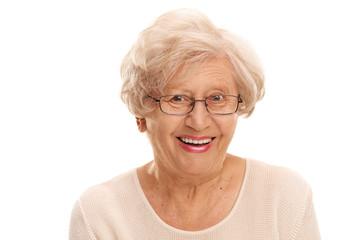 Close-up on a joyful senior lady