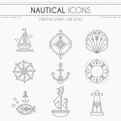 Nautical icon set, minimalistic flat design with thin strokes