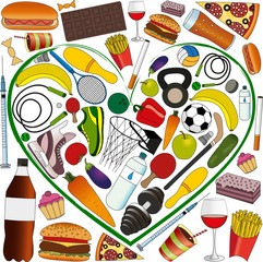sports accessories, and healthy food in the heart, against the background of fast food, alcohol, drugs