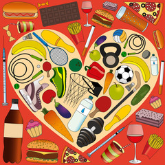 concept of healthy lifestyle: sports accessories, and healthy food in the heart, against the background of fast food and alcohol