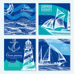 Sea set. Nautical elements banner collection. Vector illustration drawn in ink.