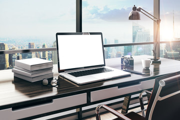 3d render of modern computer workplace setup