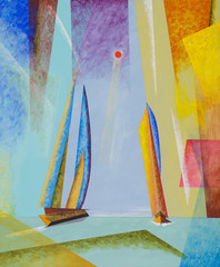 A semi-abstract seascape with yachts.