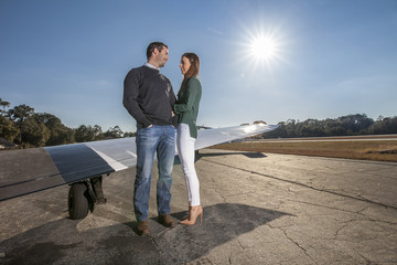 couple with private plane