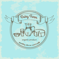 Logo with the image of a dairy in vintage style. Milk farm. Vector label