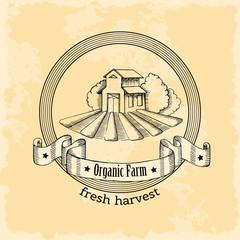 Emblem natural farm in vintage style. Fresh harvest. Vector