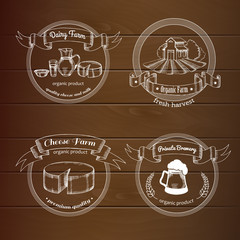 Set logo for organic farm on the wooden background. Milk, cheese farm and Private Brewery. Vector sticker in vintage style
