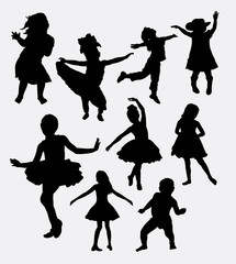 Children playing and dancing silhouette. Male and female kid activity. Good use for symbol, logo, web icon, mascot, sticker design, or any design you want.