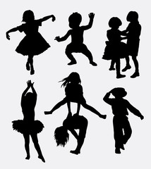 Kids playing silhouette. Male and female children gesture. Good use for symbol, logo, web icon, sign, mascot, or any design you want.