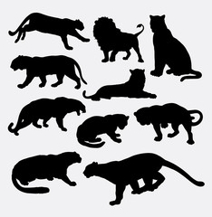 Cheetah, panther, leopard, lion and tiger wild animal silhouette. Good use for symbol, logo, web icon, mascot, sticker, game element, or any design you want. Easy to use.