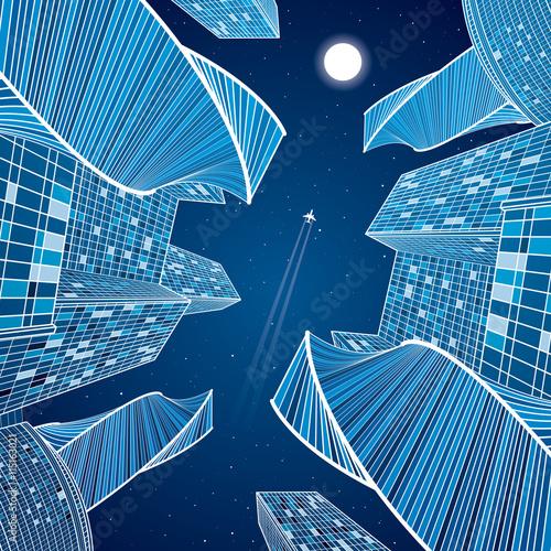 Business Building Night City Urban Scene Infrastructure