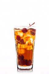 Refreshing cold cherry cola isolated on a white background