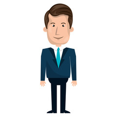Young businessman with elegant suit cartoon, vector illustration.