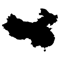 Black simplified flat silhouette map of China. Vector country shape.