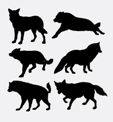 Wolf wild animal silhouette. Good use for symbol, logo, web icon, sticker design, sign, game element, or any design you want.