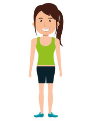 Young and beautiful fashion woman body complete design, vector illustration cartoon.