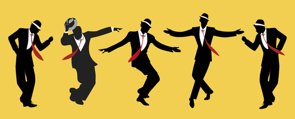 Fototapete - Elegant men wearing hats. Dancing swing or jazz. 1950s or 60s style.
