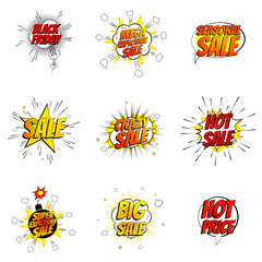 Set of sale symbols in pop art style. Vector illustration. Decorative collection of discount labels with bomb explosive isolated on white background.