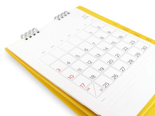 desk calendar with days and dates in July 2016 and blank lines for notes isolated on white background
