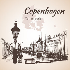 Cityscape of Copenhagen with water and ships