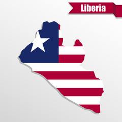 Liberia map with flag inside and ribbon
