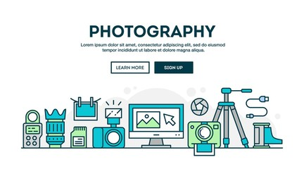 Photography equipment, colorful concept header, flat design thin style