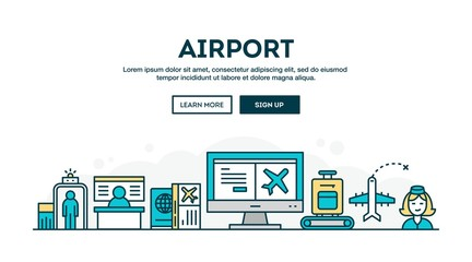 Airport, colorful concept header, flat design thin line style