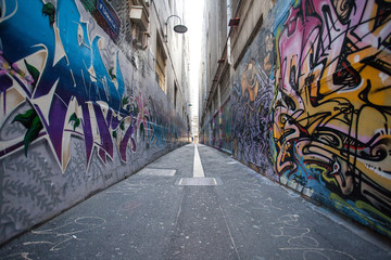 Foto auf AluDibond Graffiti graffiti city in Melbourne