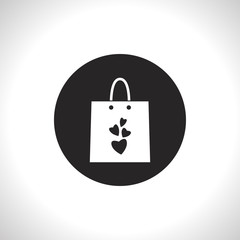 present bag wit hearts vector icon