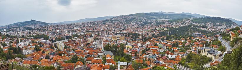 The panoramic view of Sarajevo