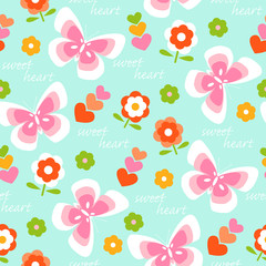 Seamless pattern background with flowers, butterflies and hearts