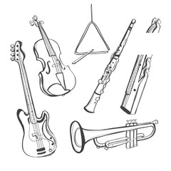 Hand-drawn instruments, vector illustration