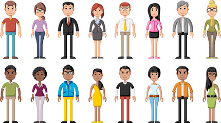 Group of cartoon colorful people