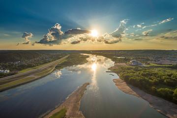 Aerial image of Kaunas city, Lithuania. Summer sunset scene