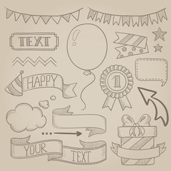 Set of ribbons and elements for party invitation.