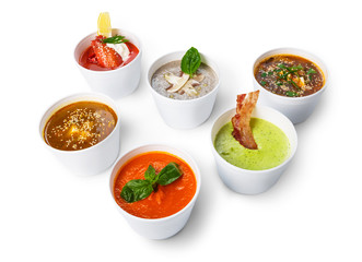 Variety of soups from different cuisines